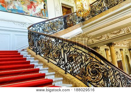 HANAU, GERMANY-MAY 17, 2017: Magnificent stairway entrance to the Phillipsruhe castle museum on the banks of river Main in Hanau, near Frankfurt am Main, Hesse, Germany