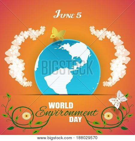 Vector World Environment Day poster on the gradient orange background with globe insert in paper pocket glow clover leaves text butterflies and green curly branches with flowers.