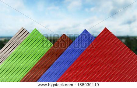 Black red green blue brown roof tiles 3d render
