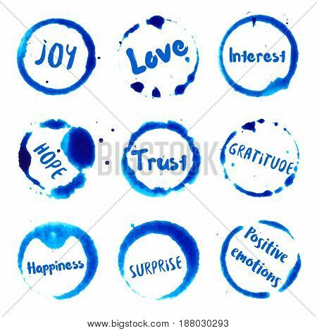 Positive Emotions Collection Of Round Watercolor Stains With Joy, Love, Interest, Hope, Gratitude, H