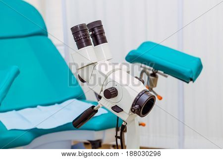 Colposcope And Chair In The Gynecology Office. Selective Focus