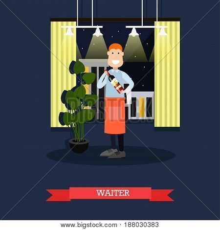 Vector illustration of waiter holding bottle of wine. Restaurant staff flat style design.