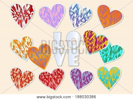 A set of multicolored grunge hearts with metallic frame for Valentine day design