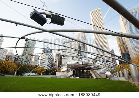 Chicago, USA - October 17 2016: Jay Pritzker Pavilion in Millenium Park at dusk on a hot summer's night