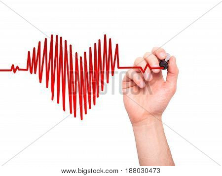 Closeup Of Hand Drawing  Heart Beat In Heart Shape With Stethoscope Isolated On White Background