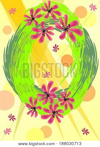 Background to welcome spring with green wreath and flowers in bright spring colors