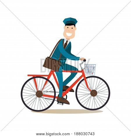 Vector illustration of postman riding bicycle and delivering mail. Cheerful smiling mailman with post bag. Delivery people concept flat style design element, icon isolated on white background.