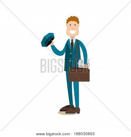 Vector illustration of smiling postman with post bag and letters. Delivery people concept flat style design element, icon isolated on white background.