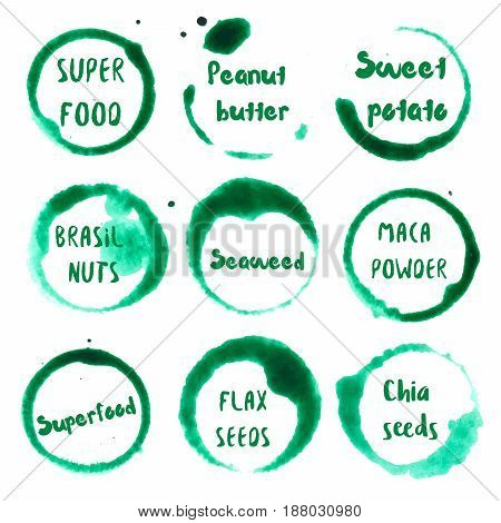 Superfood Collection Of Round Watercolor Stains With Super Food, Superfood, Peanut Butter, Sweet Pot