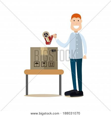 Vector illustration of postal worker parcel packer. Delivery people concept flat style design element, icon isolated on white background.