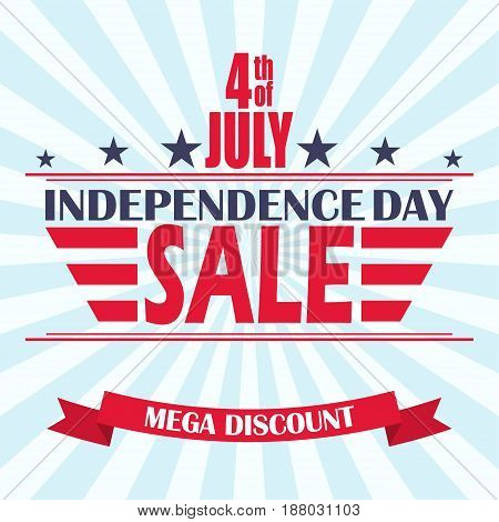 USA Independence Day sale background. Design template for 4th of July sale. Vector illustration.