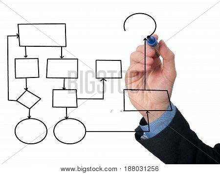 Businessman Drawing Empty Diagram On Visual Screen