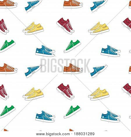 Fashionable woman s shoes snickers. Seamless pattern. Vector design