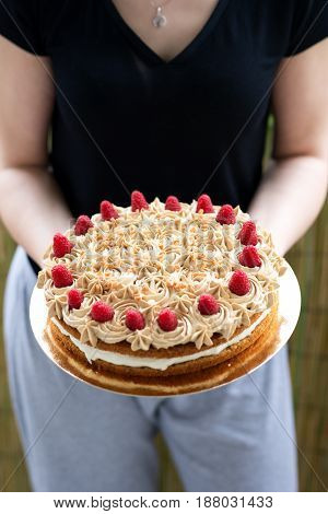 my homemade raspberries cake with almonds and caramel
