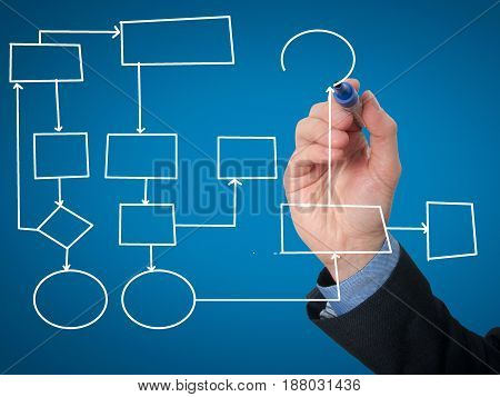 Businessman Hand Drawing Empty Diagram
