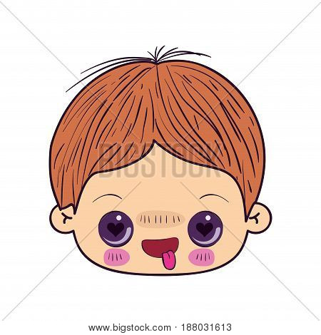 colorful caricature kawaii face little boy with facial expression in love vector illustration