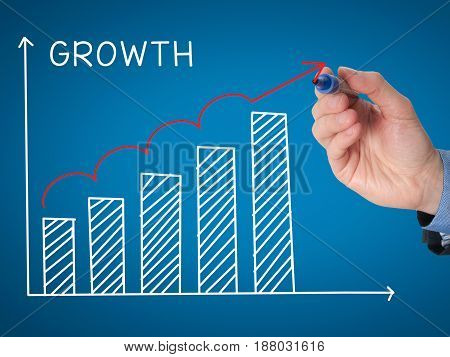Businessman Hand Drawing Growth Graph With Marker On Transparent Wipe Board