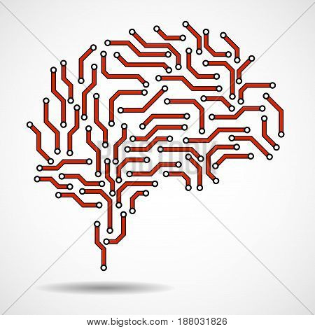 Technological brain. Circuit board. Abstract vector background