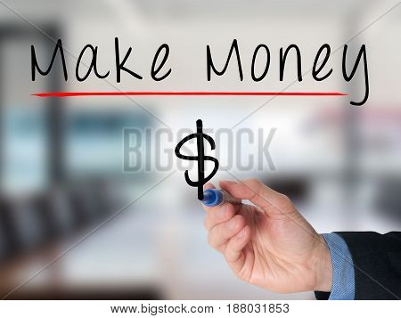 Businessman Hand Writing Make Money On Virtual Screens