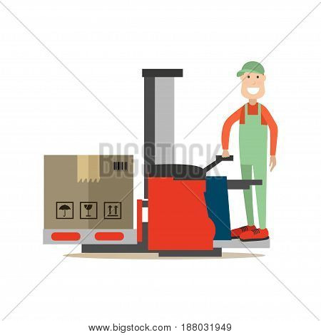 Vector illustration of loader lifting cardboard boxes using lift truck. Delivery people concept flat style design element, icon isolated on white background.