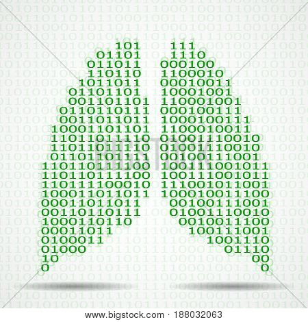 Abstract human lungs with binary computer code. Vector illustration. Eps 10