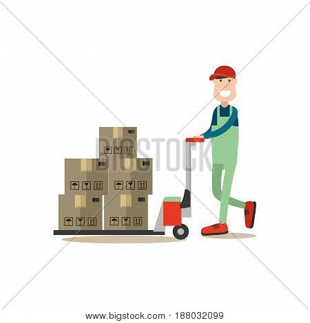 Vector illustration of loader pushing cart with cardboard boxes. Delivery people concept flat style design element, icon isolated on white background.
