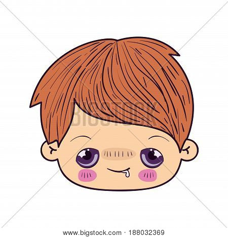 colorful caricature kawaii face little boy with embarrassed facial expression vector illustration