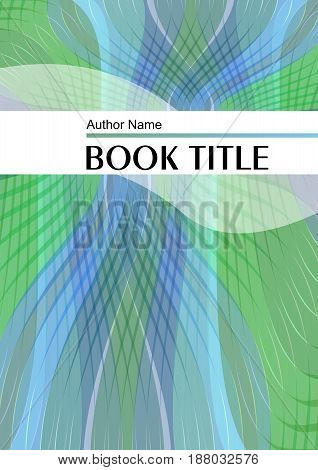 Modern trendy book or brochure template with waves in green and blue