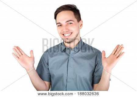 Casually Handsome. Confident Young Handsome Man While Standing Against White Background. Happy Young