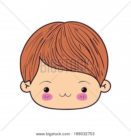 colorful caricature kawaii face little boy with facial expression exhausted vector illustration