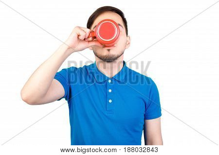 Portrait Of Young Man Holding A Cup Of Coffee Isolated On White Background. Good Morning Text, Man D