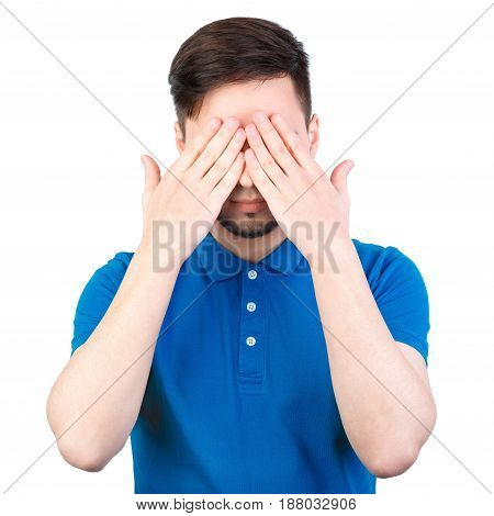 The Young Man Closed His Eyes With His Hands. Young Man Covering His Ears, Closing His Eyes, Isolate