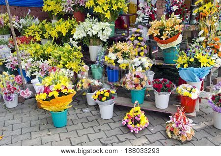 various colorful flowers in asia street market India