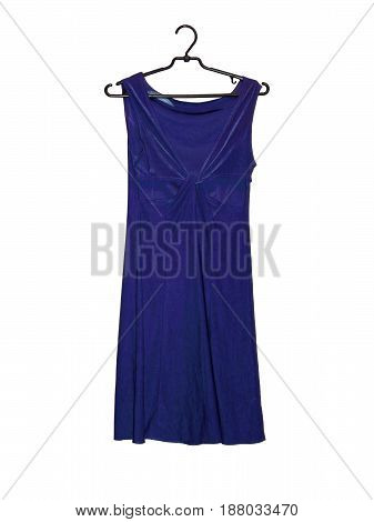Dark Blue dress on a hanger. Isolated on white background.