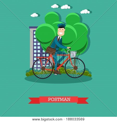 Vector illustration of mailman riding bicycle and delivering mail. Cheerful smiling mail carrier with post bag. Mail delivery service. Postman design element in flat style.