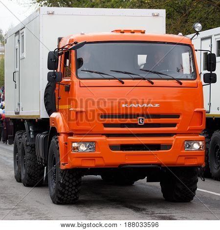 RUSSIAN KOZELSK MAY 9 2017 Victory Day May 9. Military Parade and demonstration on anniversary of Victory in Great Patriotic War. Vehicle truck KAMAZ is driving on public show