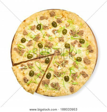 Italian seafood pizza with tuna isolated at white background, one slice cut off, top view