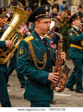 RUSSIAN KOZELSK MAY 9 2017 Victory Day May 9. Military Parade on anniversary of Victory in Great Patriotic War. Military band marching during parade