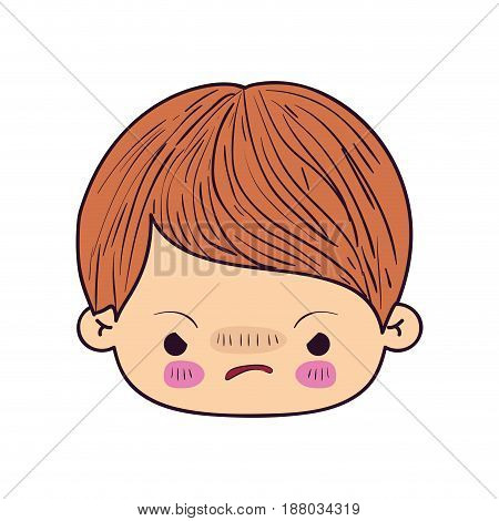 colorful caricature kawaii face little boy with facial expression angry vector illustration