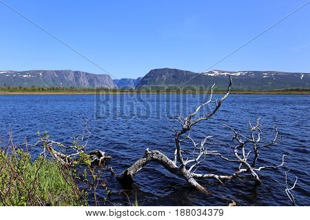 western brook pond on the plateau in Newfoundland