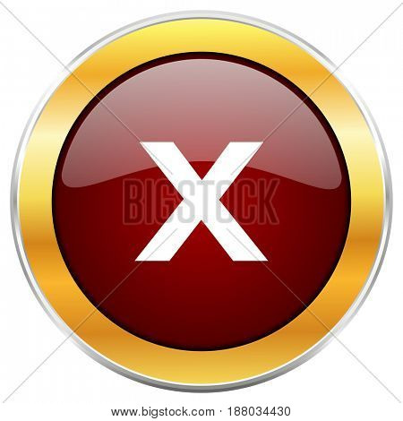 Cancel red web icon with golden border isolated on white background. Round glossy button.