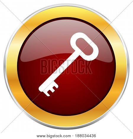 Key red web icon with golden border isolated on white background. Round glossy button.