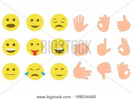 Set Of Yellow Smile And Hand Gestures On White Background