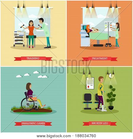 Vector set of disabled people posters. Training, Treatment, Paralympic games and Broken leg flat style design elements.