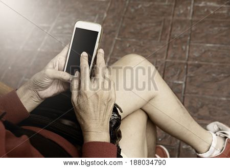 Woman using smartphone personal chat and social media
