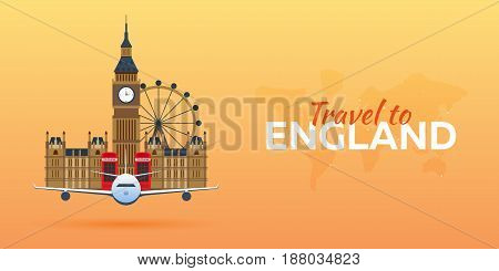 Travel To England. Airplane With Attractions. Travel Vector Banners. Flat Style.