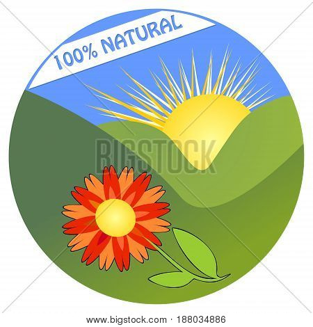 Label for 100 percent natural product from ecological environment with colorful flower in landscape with mountain and sun