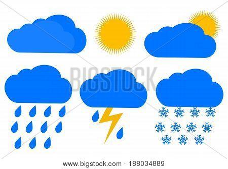 Weather , Vector illustration, Rain, snow, storm, sun.design, White background