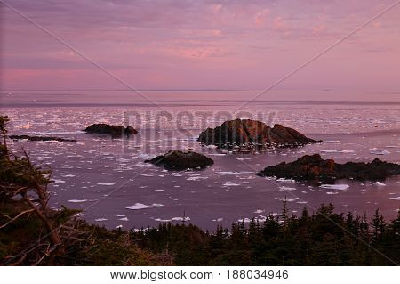 sunset with drift ice in the great north