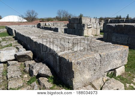 Ruins of The capital city of the First  Bulgarian Empire medieval stronghold Pliska, Shumen Region, Bulgaria